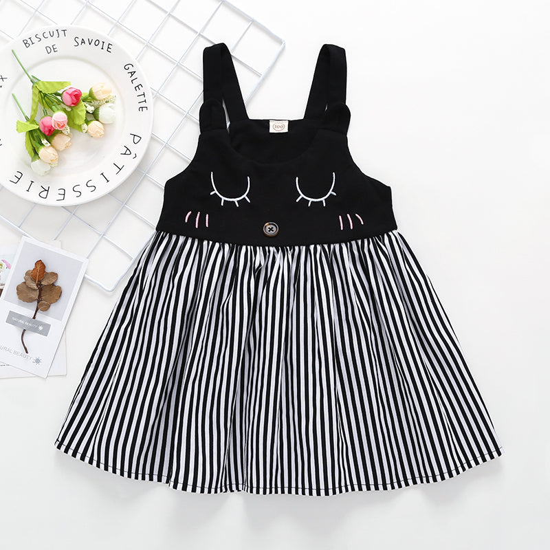 Toddler Girls Cute Cartoon Print Suspender Stripe Splice Dress