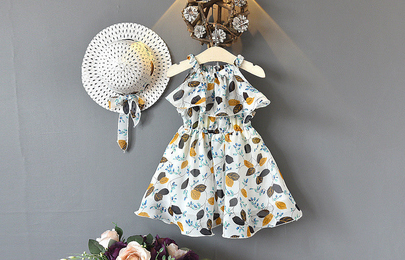 Girl Chiffon Off Shoulder Leaf and Flower Print Dress
