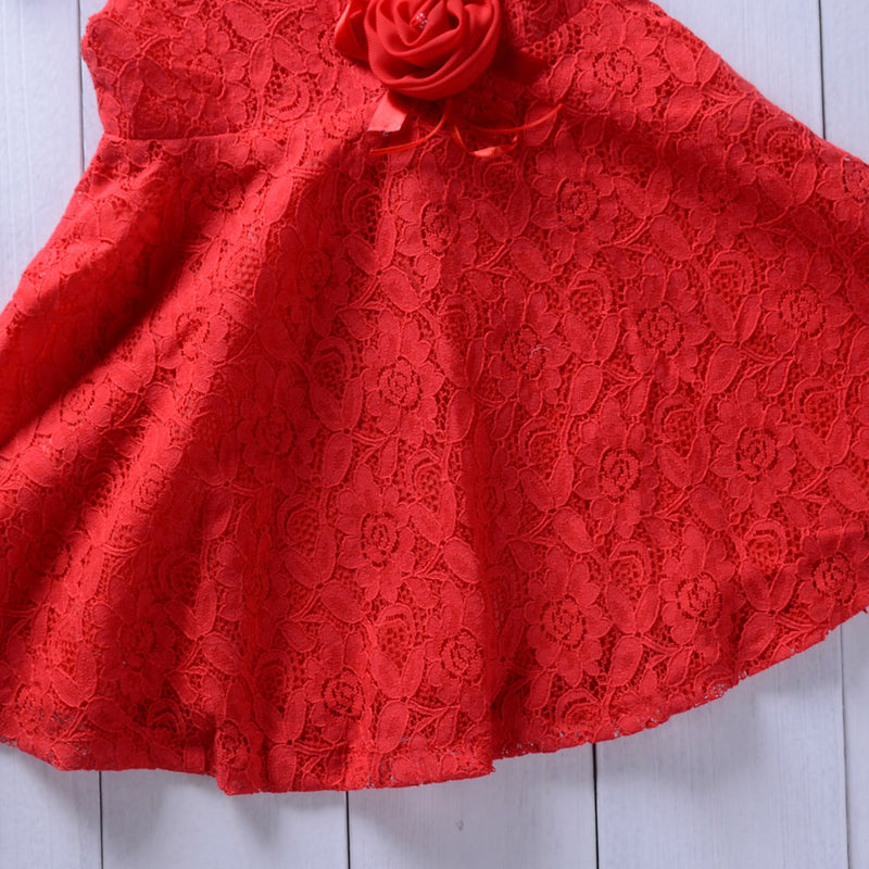 Solid Color Sleeveless Lace Dress Flower Princess Skirt For Girls
