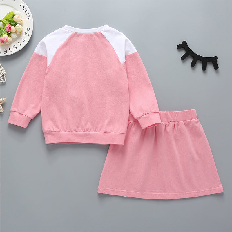 Girls Casual Round Neck Long Sleeve Top & Solid Color Sports Skirt