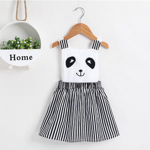 Toddler Girls Cute Cartoon Panda Striped Suspender Dress