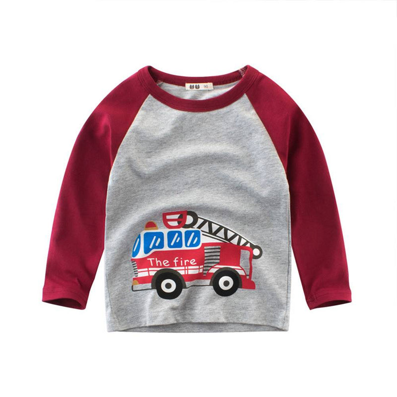 COTTNBABY Cartoon Fire truck Print Sports Tee For Toddler Boy