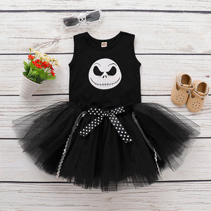 Baby Girls Halloween Sleeveless Print Tank Top Pleated Mesh Skirt