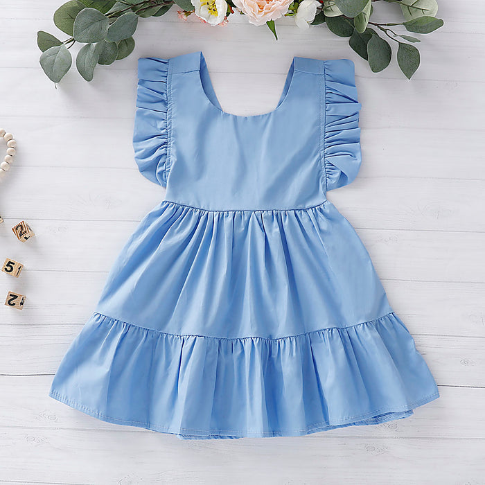 Toddler Girls Fly Sleeve Solid Color Strap Skirt