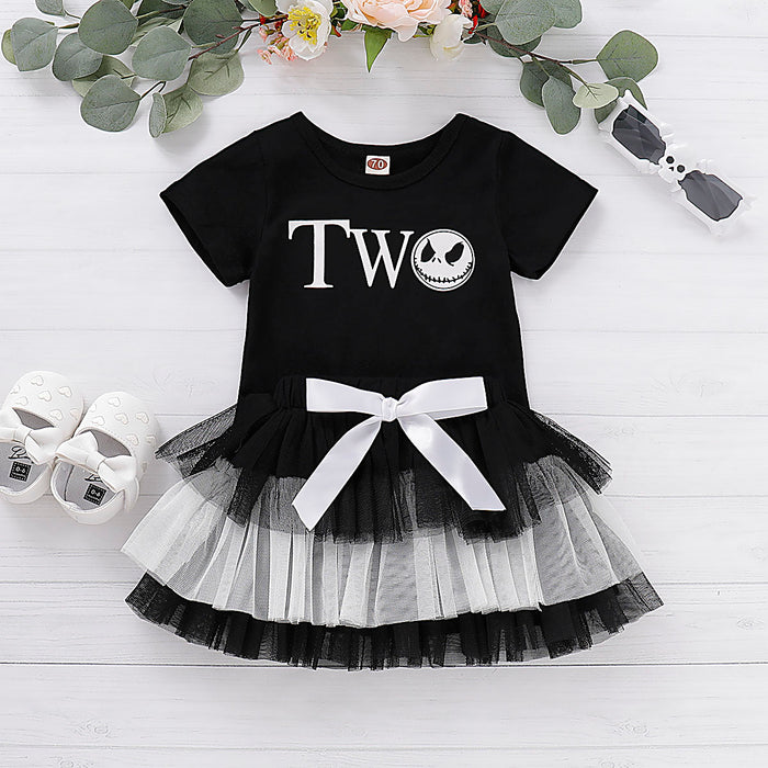 Toddler Girls Halloween Ghost Print Top Cake Mesh Skirt