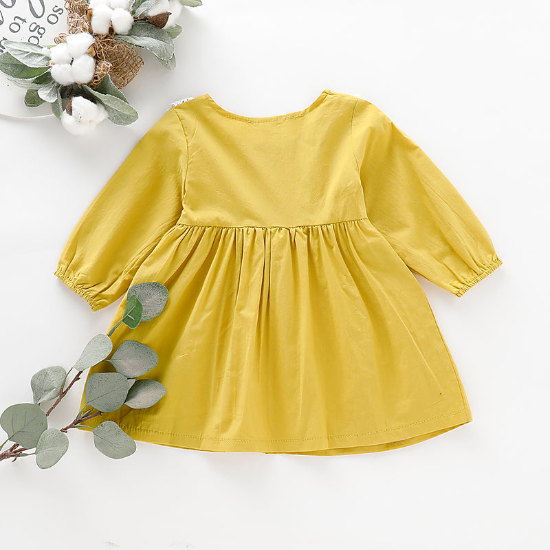Toddler Girls Long Sleeve Solid Color Dress Round Neck Lace Dress
