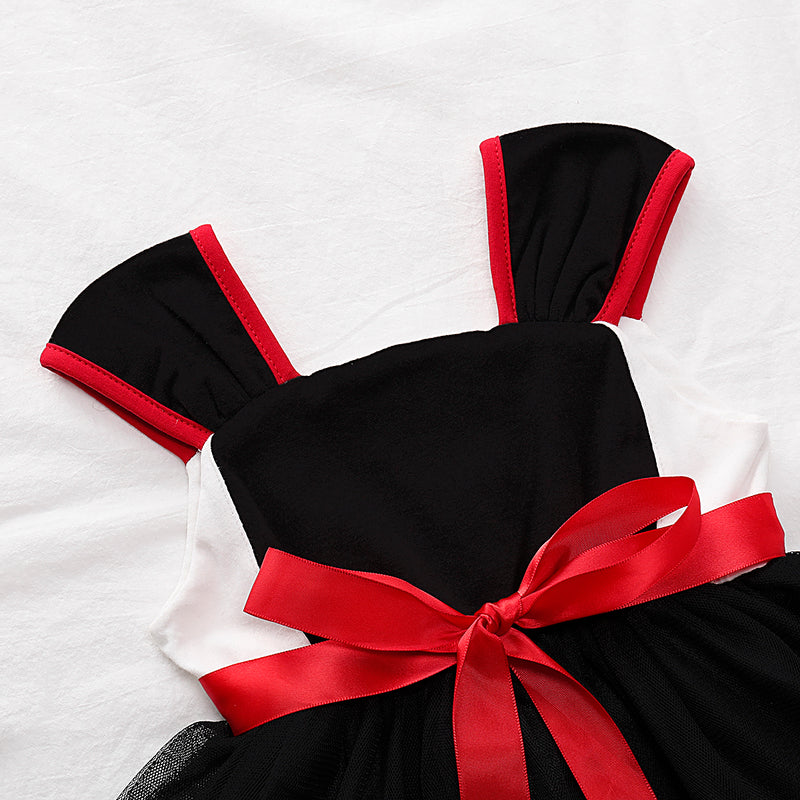 Toddler Girls Lovely Bow Suspender Dress Solid Color Mesh Dress