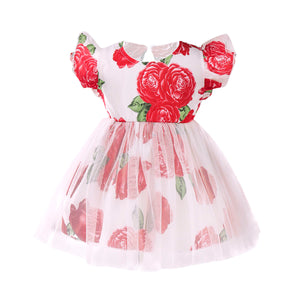 Toddler Girls Fly Sleeve Flower Tutu Skirt Cute Mesh Lace Skirt
