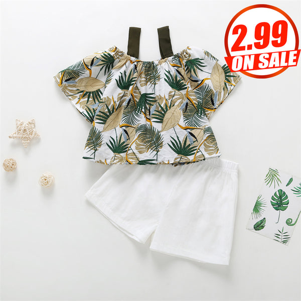 62PCS No Profit On Sale Clearance & Closeout Specials Girls Leaf Printed Short Sleeve Top & Solid Shorts childrens wholesale