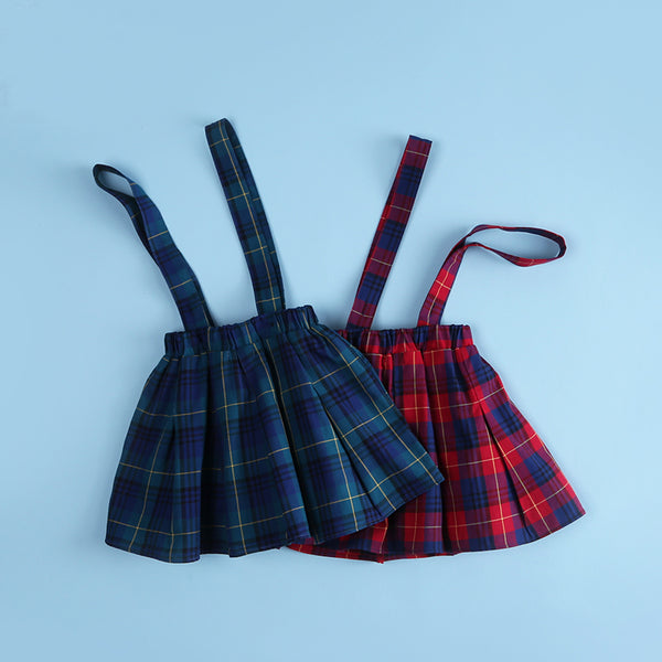 Girls Preppy Style Plaid Back Belt Skirt