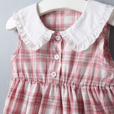 64PCS Clearance & Closeout Specials Baby Girls Plaid Sleeveless Dress Bulk Baby Clothes Online