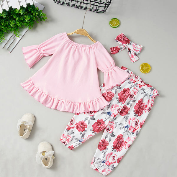 65PCS No Profit On Sale Clearance & Closeout Specials Baby Girls Long Sleeve Top & Floral Pants & Headband baby clothes wholesale distributors