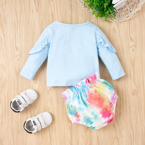66PCS No Profit On Sale Clearance & Closeout Specials Baby Girls Letter Printed Long Sleeve Top & Shorts baby wholesale clothing