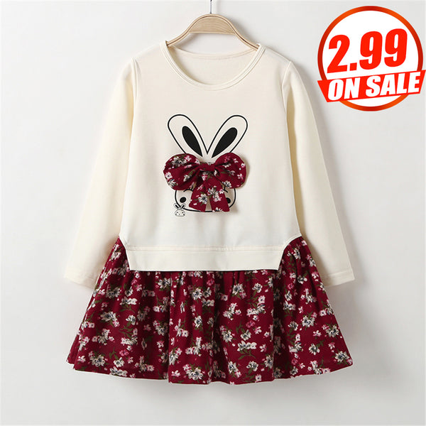 66PCS No Profit On Sale Clearance & Closeout Specials Girls Rabbit Floral Printed Long Sleeve Dress kids wholesale vendors