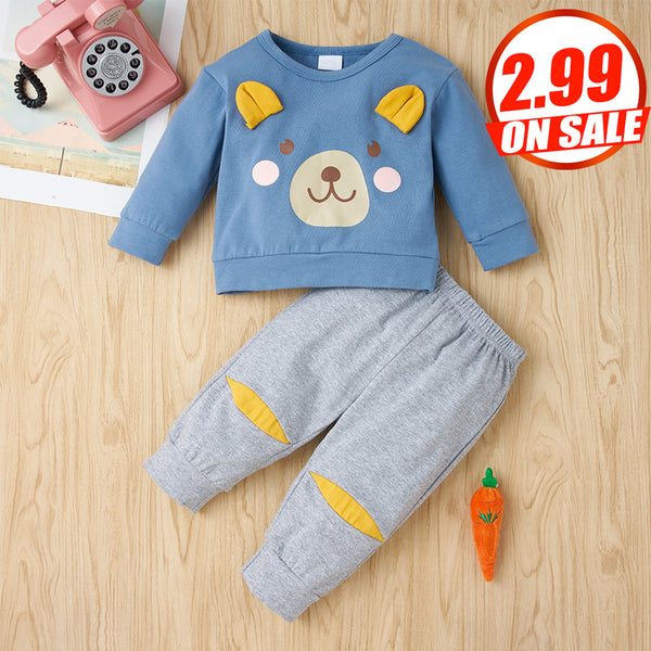 69PCS No Profit On Sale Baby Unisex Cartoon Long Sleeve Top & Pants Wholesale Baby Clothes