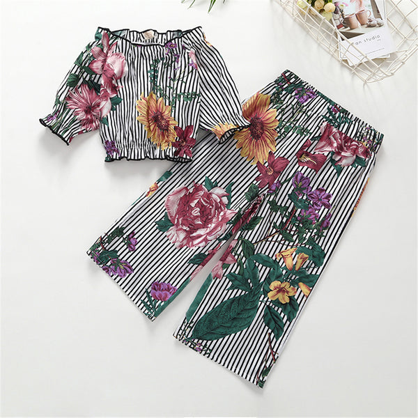 69PCS No Profit On Sale Clearance & Closeout Specials Girls Striped Floral Printed Off Shoulder Top & Wig Leg Pants wholesale childrens clothing
