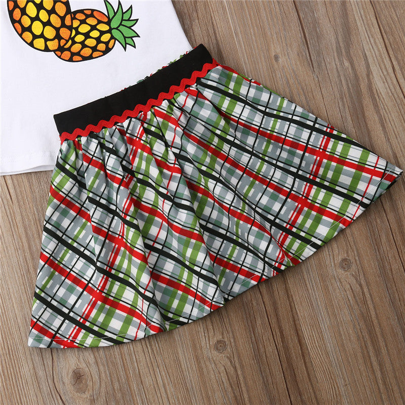 Toddler Girls Pineapple Print Top Plaid Skirt