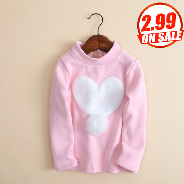 6PCS No Profit On Sale Clearance & Closeout Specials Girls Long Sleeve Heart Top quality children's clothing wholesale