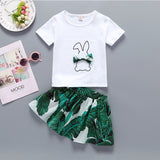 Girls Cute Rabbit Print Bow Top & Allover Print Skirt