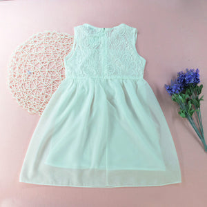 Fashionable Girl Solid Color Tulle Dress Sleeveless Princess Dress