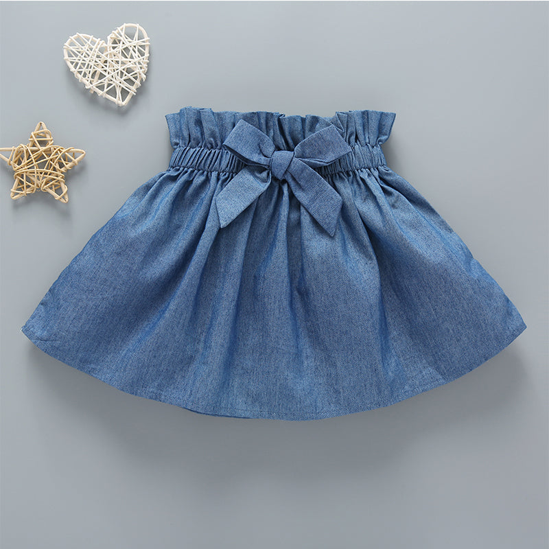 Baby Girls Solid Color Long Sleeve Top & Bowknot Skirt