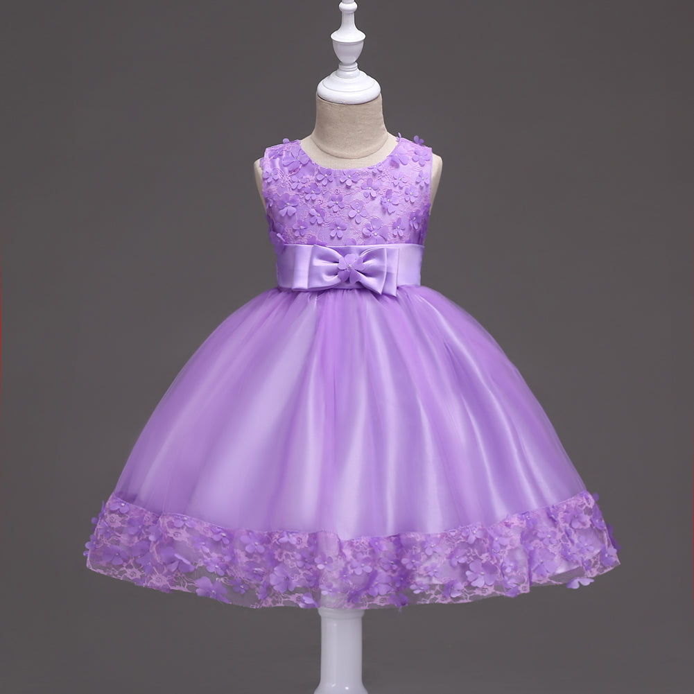 Girl Prom Dress Wedding Dress Bow Princess Dress Lace Dress
