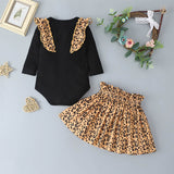 Stylish Solid Color Ruffled Top & Leopard Short Skirt