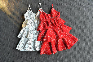 Girls Fashion Chiffon Polka Dot Suspender Dress Cake Princess Skirt