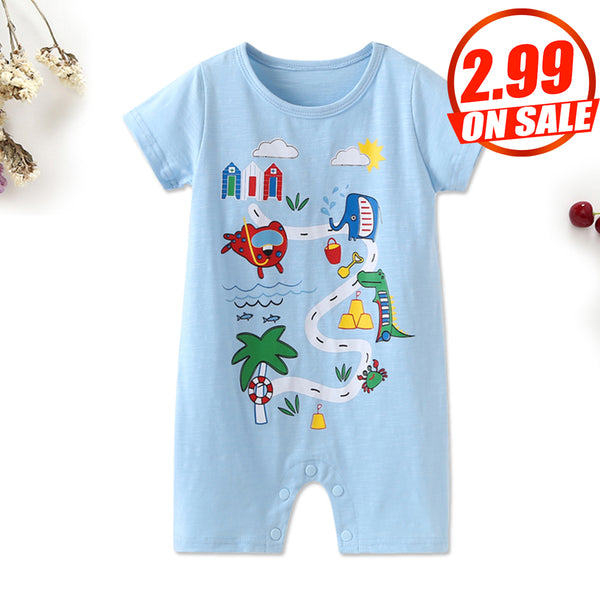70PCS No Profit On Sale Clearance & Closeout Specials Baby Boys Cartoon Printed Short Sleeve Romper Baby Outfits