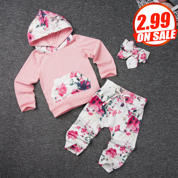 71PCS No Profit On Sale Clearance & Closeout Specials Baby Girls Floral Long Sleeve Hooded Top & Pants & Headband baby wholesale clothing