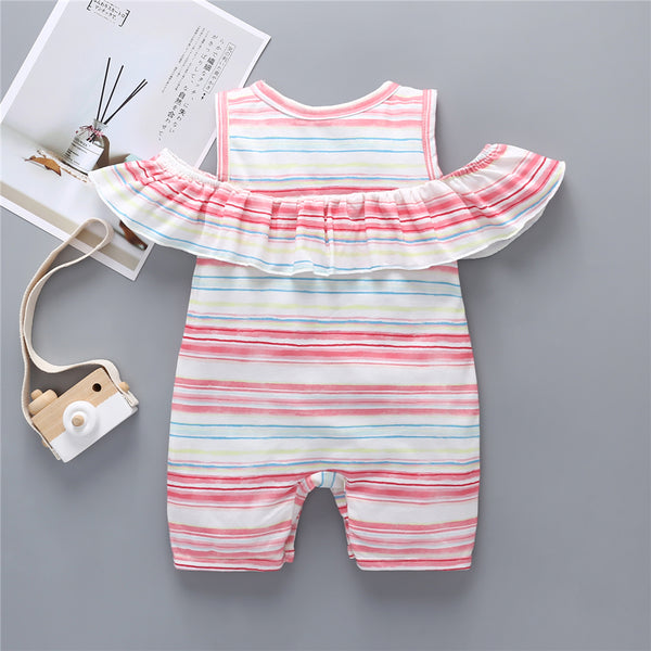 71PCS No Profit On Sale Clearance & Closeout Specials Striped Off Shoulder Romper cheap baby girl clothes