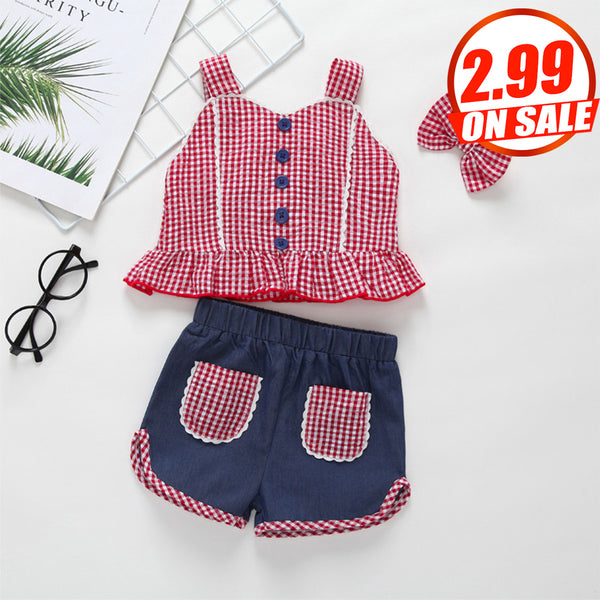 73PCS No Profit On Sale Clearance & Closeout Specials Girls Plaid Button Top & Shorts & Headband Wholesale Girl Clothing