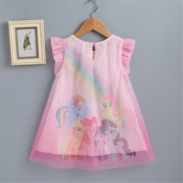 74PCS No Profit On Sale Clearance & Closeout Specials Girls Sleeveless Cartoon Mesh Dress wholesale children's boutique clothing suppliers usa