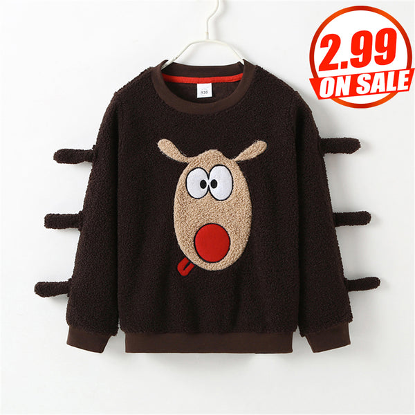 74PCS No Profit On Sale Clearance & Closeout Specials Unisex Long Sleeve Elk Embroidery Top wholesale kids boutique clothing