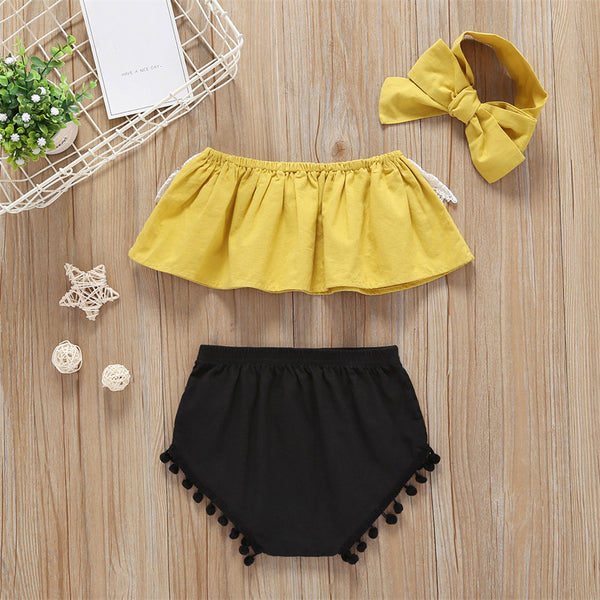 75PCS No Profit On Sale Clearance & Closeout Specials Baby Girls Baby Girls Lace Tube Top & Shorts & Headband baby clothes vendors