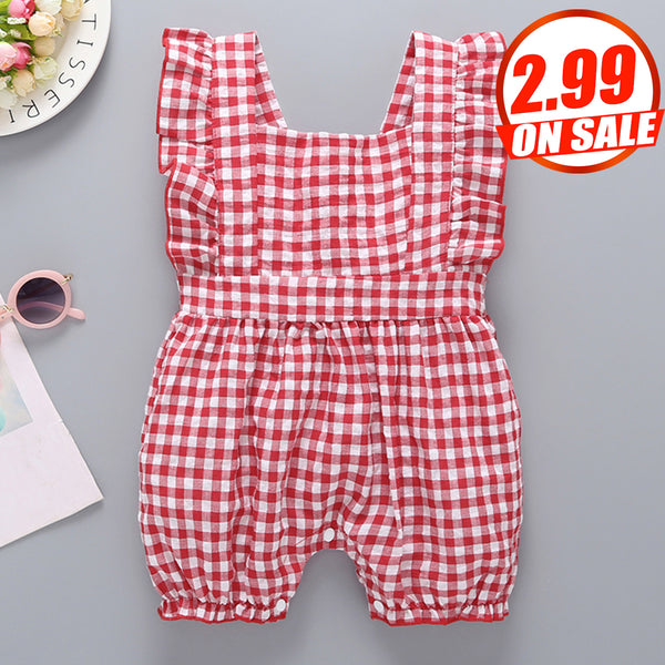 75PCS No Profit On Sale Clearance & Closeout Specials Baby Girls Plaid Sleeveless Romper cheap baby clothes wholesale