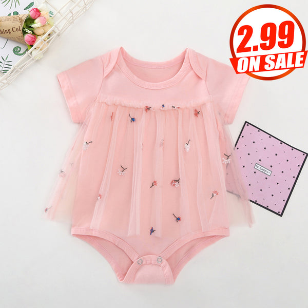 76PCS No Profit On Sale Clearance & Closeout Specials Baby Girls Short Sleeve Embroidery Mesh Romper cheap baby girl clothes boutique