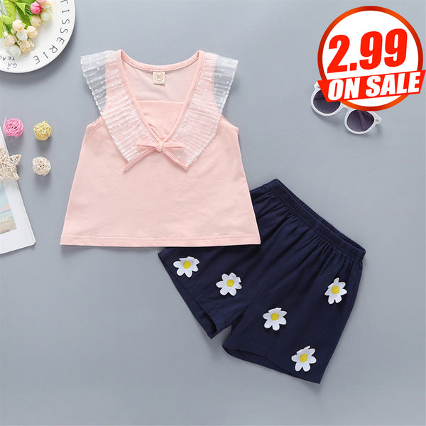 79PCS No Profit On Sale Clearance & Closeout Specials Baby Girls Mesh Collar Sleeveless Top & Shorts Cheap Baby Clothes In Bulk