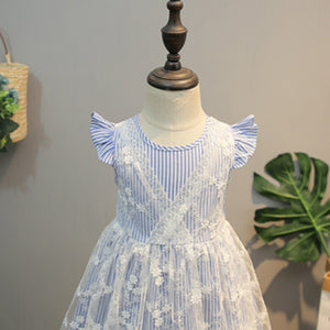 Girls Dress Striped Lace Dress Fly Sleeve Splice Princess Dress