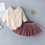 Baby Girls Doll Collar Solid Color Top & Mesh Skirt