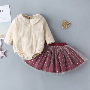 Baby Girls Doll Collar Solid Color Top and Mesh Short Skirt