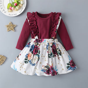 Baby Girls Long Sleeve Top & Floral Allover Print Suspender Skirt