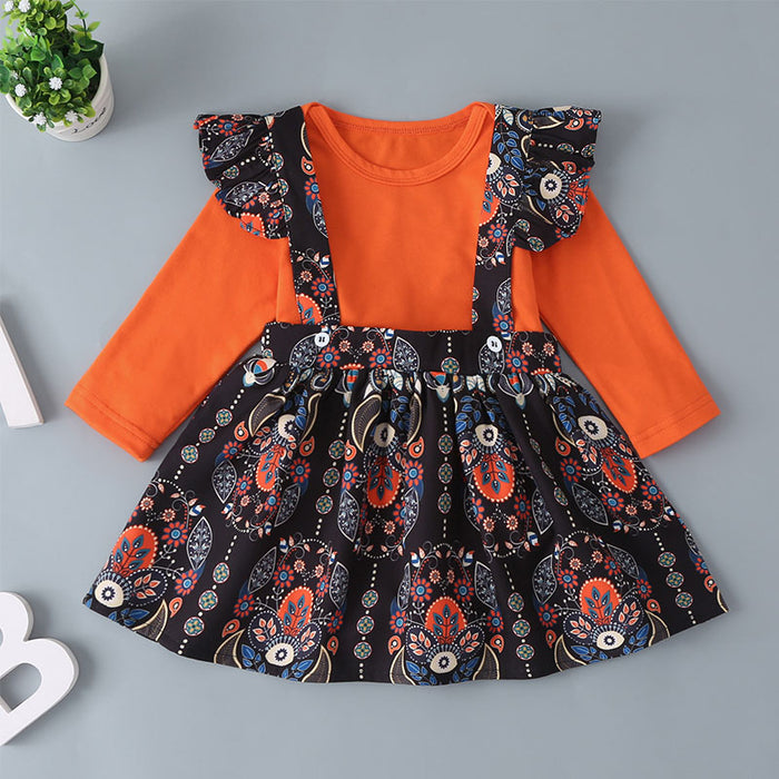 Baby Girls Orange Long Sleeve Top And Pattern Printed Suspender Skirt
