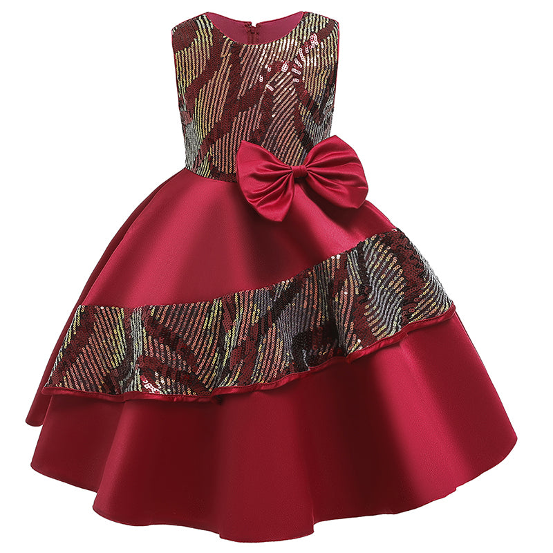 Girl Red Elegant Prom Princess Sequined Dress