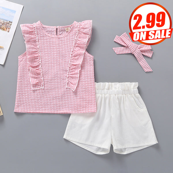 82PCS No Profit On Sale Clearance & Closeout Specials Girls Sleeveless Plaid Ruffled Top & Shorts kids wholesale clothing