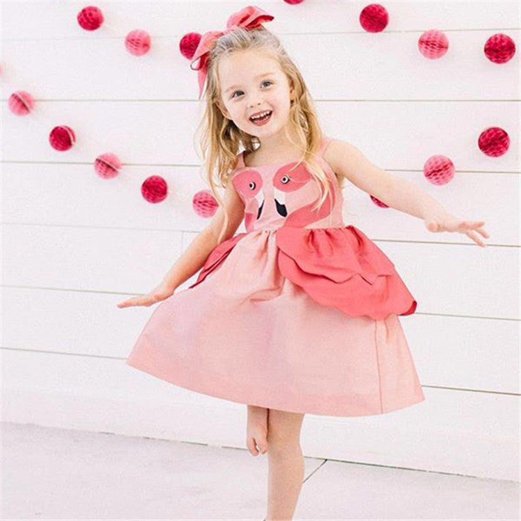 Toddler Girls Swan Dress Suspender Skirt Princess Skirt