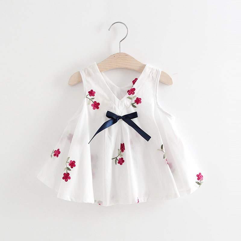 Baby Girls Embroidered Flower Watermelon Suspender Skirt