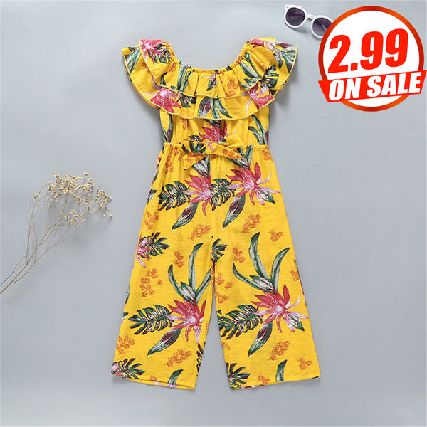 83PCS No Profit On Sale Clearance & Closeout Specials Girls Off Shoulder Floral Printed Jumpsuit wholesale childrens clothing online
