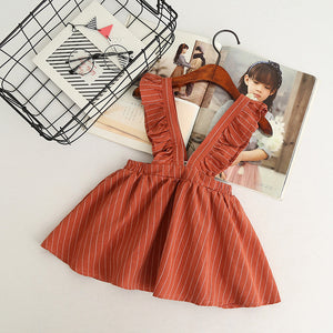 Girls Lovely Striped Strap Dress Casual Princess Skirt