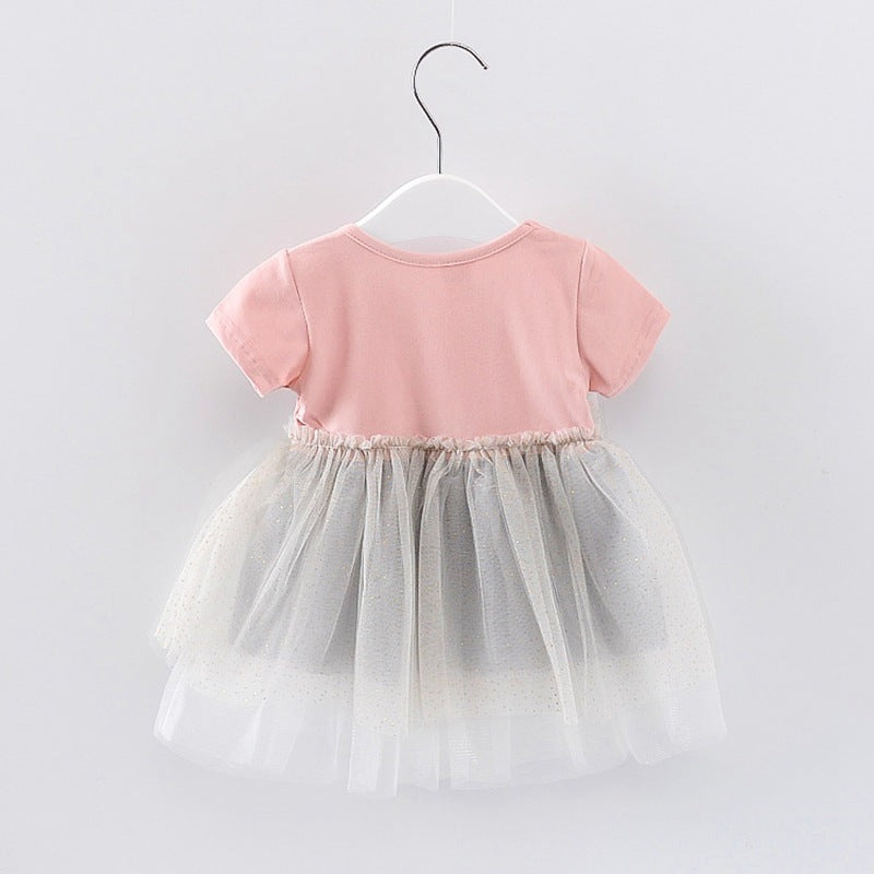 Baby Girls Bow Mesh Splice Color Contrast Princess Dress